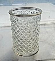 avon glass multipurpose pencil pen toothbrush holder pebbled clear glass... - $9.49