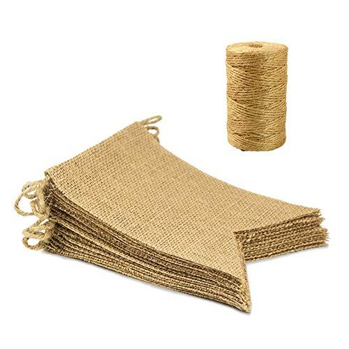 Primary image for 15Pcs Burlap Banner and 328 feet Burlap String, Blank DIY Jute Bunting Garland f