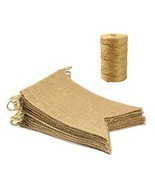 15Pcs Burlap Banner and 328 feet Burlap String, Blank DIY Jute Bunting G... - $13.69