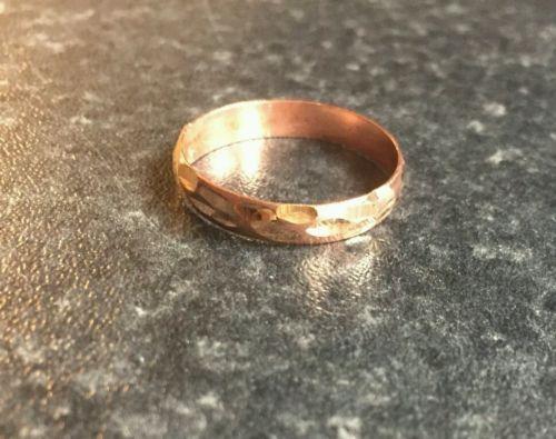 Bonito Protección Amuleto Pure Cobre Panyabí Hindú Sij Anillo Corte Diseño