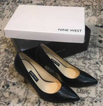 Nine West Women's Flax Pointed Toe Dress Pump, Black Leather, size 5 m - $49.45