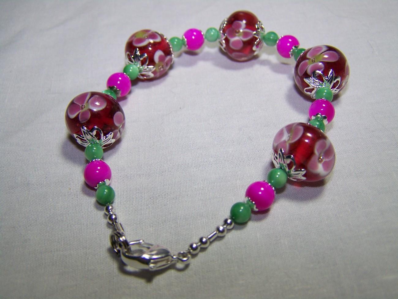 Pink green lampwork  7 1/2 inch flower mop silver bracelet