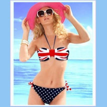 British Flag 2 Piece Bikini Summer Swim Suit with Padded Cups & Side Ties