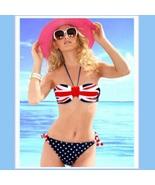 British Flag 2 Piece Bikini Summer Swim Suit with Padded Cups & Side Ties - $41.95
