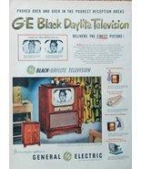 GE Black Daylite Television, print ad. Rare 50's Color Illustration (tru... - $14.84