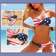 American Flag 2 Piece Bikini Summer Swim Suit with Padded Cups & Side Ties