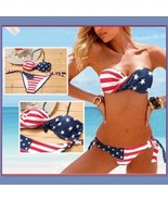 American Flag 2 Piece Bikini Summer Swim Suit with Padded Cups & Side Ties - $41.95