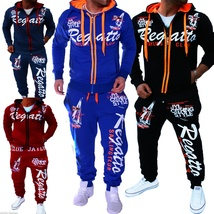 Men Sport Tracksuit Casual Letter Printed Hoodie Coat Leisure Trousers for Male  image 10