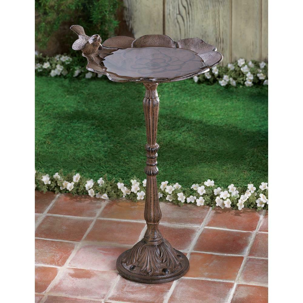 BRONZE FINISH Metal CAST IRON Bird Bath Feeder Outdoor Yard Garden Patio Decor