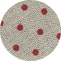 FABRIC CUT 32ct natural/red petit point belfast linen Polka Dots&Alphabe... - $13.00