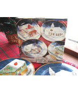 Set of Four (4) American Atelier Winter Village Porcelain Dessert Plates... - $30.00