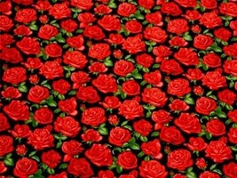 Roses Black Red 100% Cotton High Quality Fabric Material 3 Sizes - $3.07+
