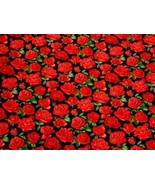 Roses Black Red 100% Cotton High Quality Fabric Material 3 Sizes - $2.88+