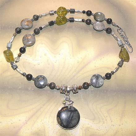 Sterling Silver Picasso Jasper and Peridot Necklace