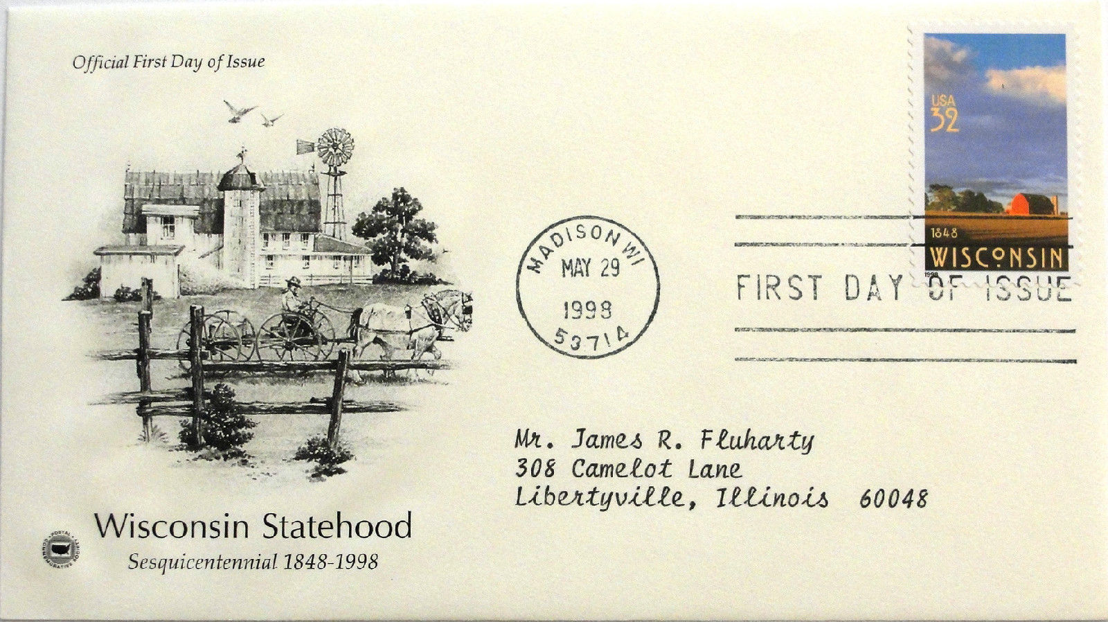 May 29, 1998 First Day of Issue, PC Society Covers, Wisconsin Statehood #18