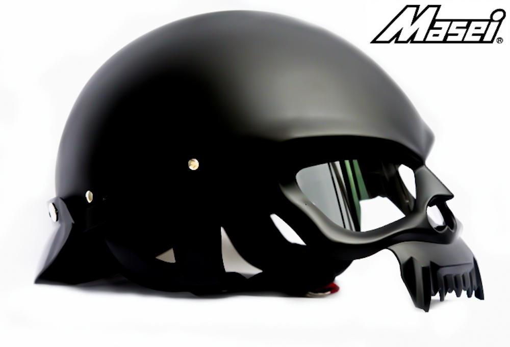 Masei 429 Matt Black Skull Motorcycle Chopper Helmet image 4