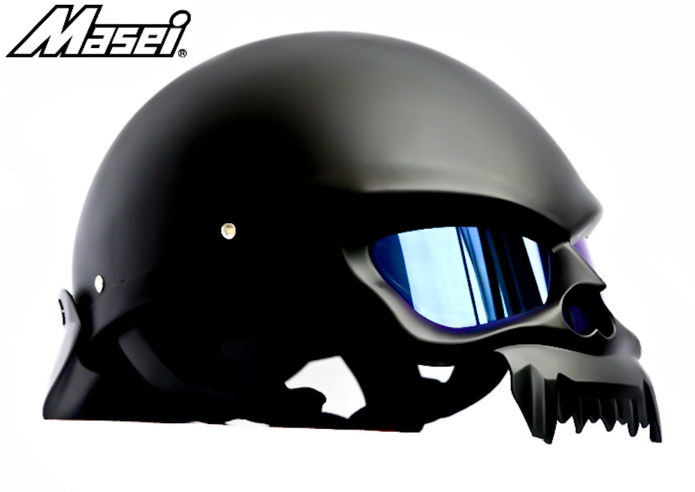 Masei 429 Matt Black Skull Motorcycle Chopper Helmet image 3