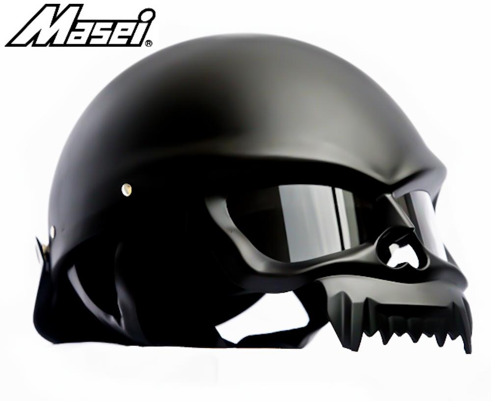 Masei 429 Matt Black Skull Motorcycle Chopper Helmet