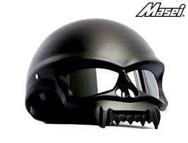 Masei 429 Matt Black Skull Motorcycle Chopper Helmet image 2