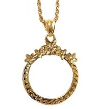 Fashion Magnifying Glass Necklace Flower-Shaped Hanging Jewelry, Gold - $17.26