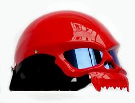 Masei 429 Glossy Red Skull Motorcycle Chopper Helmet image 3