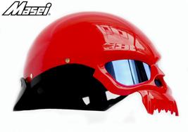 Masei 429 Glossy Red Skull Motorcycle Chopper Helmet image 4