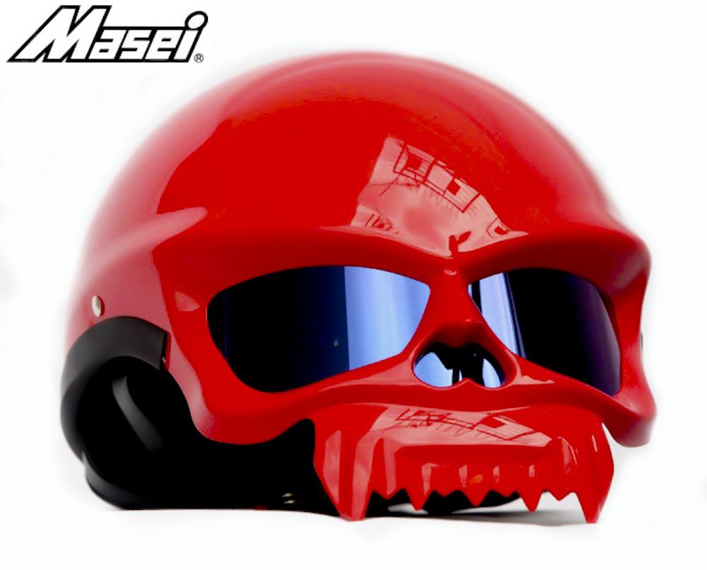 Masei 429 Glossy Red Skull Motorcycle Chopper Helmet