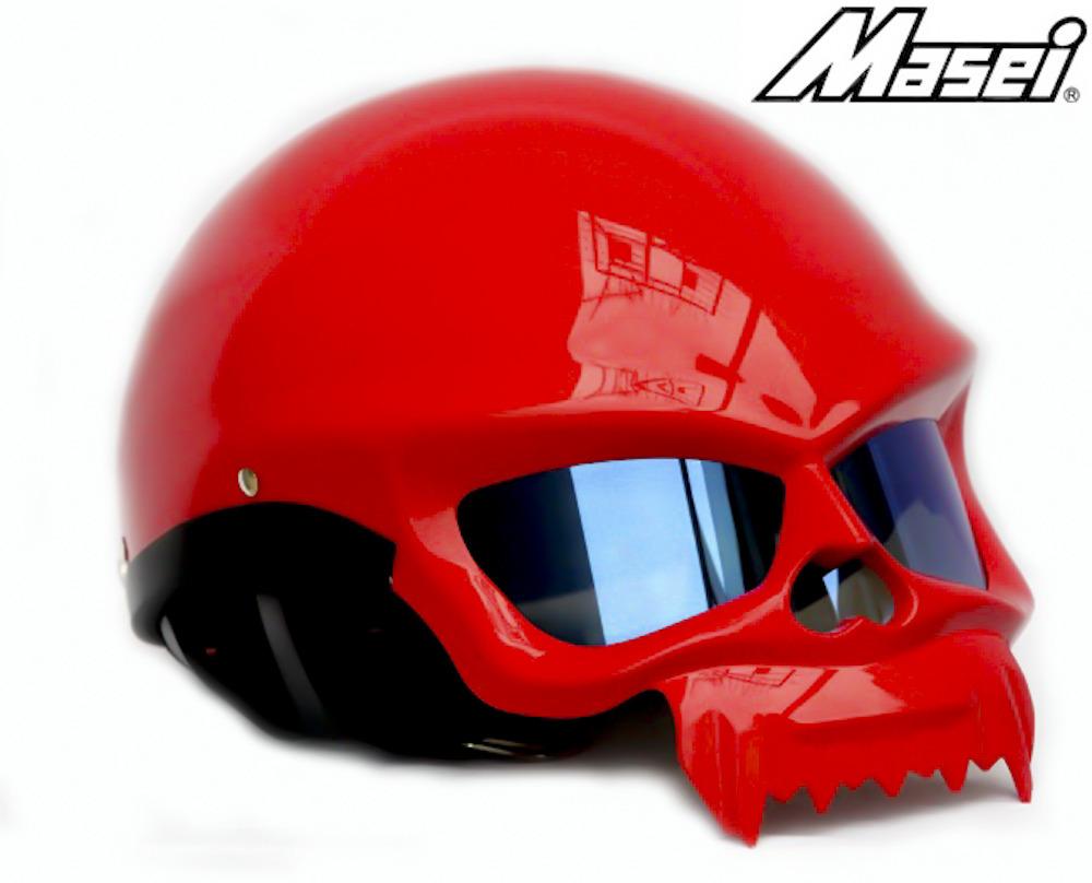 Masei 429 Glossy Red Skull Motorcycle Chopper Helmet image 2