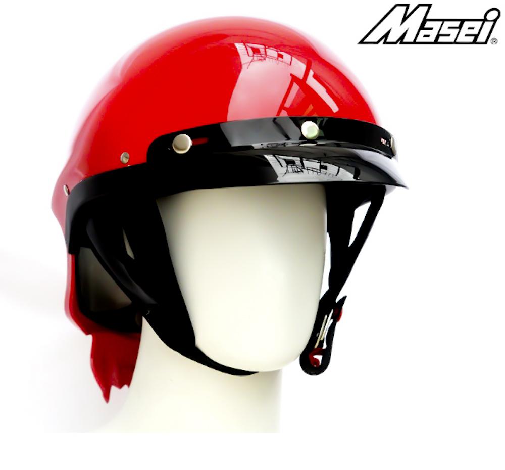 Masei 429 Glossy Red Skull Motorcycle Chopper Helmet image 5