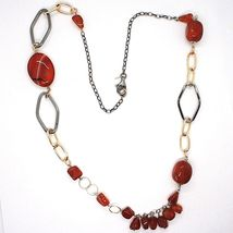 925 Silver Necklace, Burnished and Pink, Carnelian Red, Length 70 cm image 3