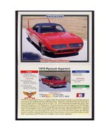 1992 Collect-A-Card Musclecars 1970 PLYMOUTH SUPERBIRD #85 - $0.20