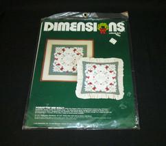 Dimensions Craft Poinsettias Holly #8044 Vintage Pillow Frame 1984 Cutlo... - $12.86