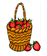 Basket of Strawberries  Collage--Digital Download-ClipArt-Art Clip - $4.00