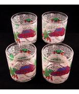 Christmas Juice Glasses 4pc Set Primitive Painted Snowy Outdoor Scene - $40.09