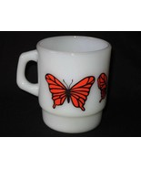 Vintage Coffee Fire King Mug   *ORANGE BUTTERFLY*  Gorgeous!  Anchor Hoc... - $11.87