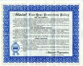 Admiral Electric Refrigerator Warranty Policy 1949 Five Year Protection ... - $14.83