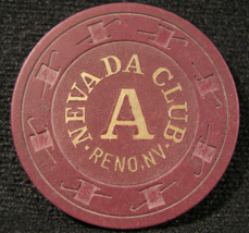 """1980 Roulette Chip From: """"Nevada Club Casino""""- (sku#2416) - $7.49"""