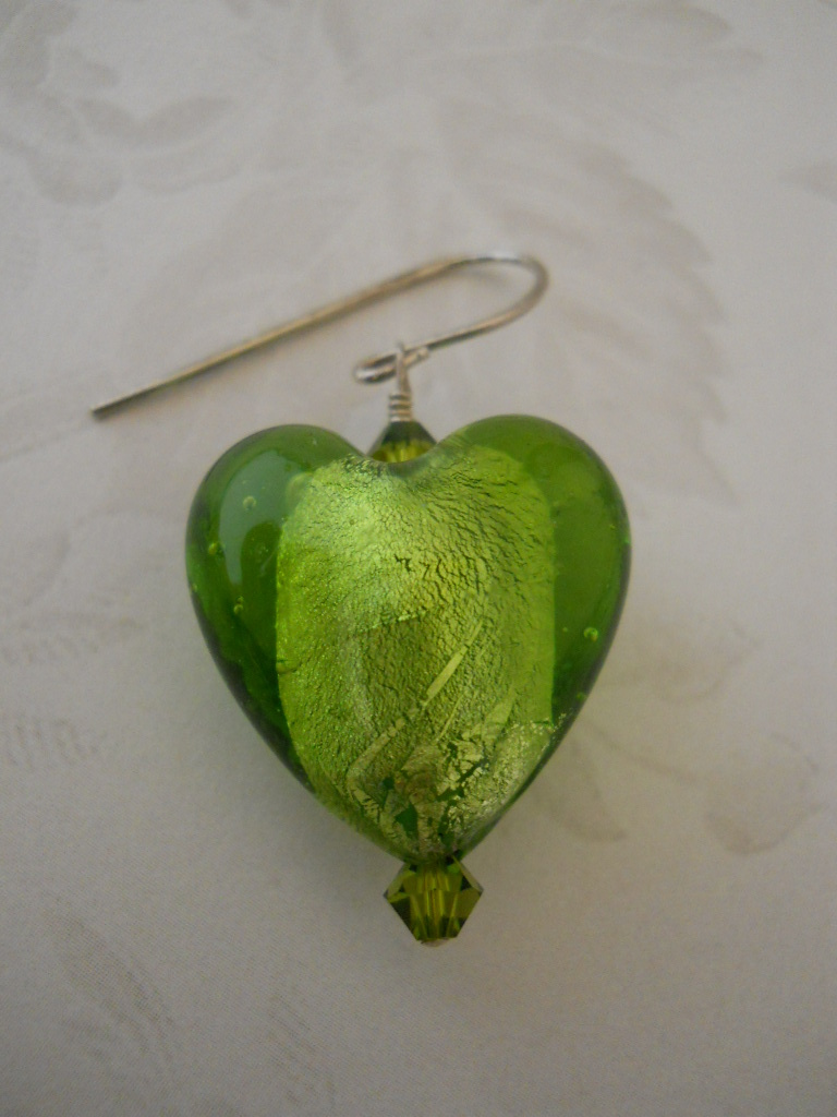 Earrings: Olive Green Foil-Lined Glass Hearts With Swarovski Crystals; Sterling