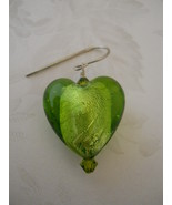 Earrings: Olive Green Foil-Lined Glass Hearts With Swarovski Crystals; S... - $20.00