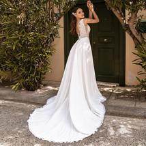 Sexy Detachable Shoulder Cape Scoop Sleeveless Lace Applique Chiffon Wedding Gow image 2