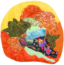 Orange Garden, Yellow Sky: Quilted Art Wall Han... - $365.00