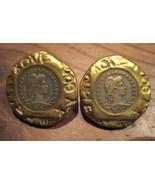Porcelain Coin earrings artist signed vintage 1980's - $14.99