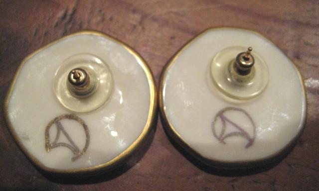 Porcelain Coin earrings artist signed vintage 1980's