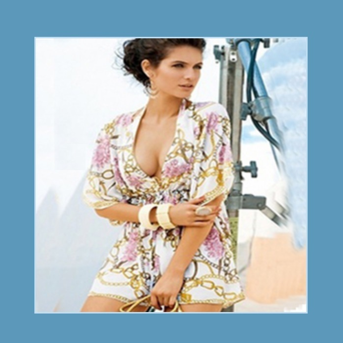 Hawaii Caftan Roses and Chain Print Beach Cover Up Dress With Batwing Sleeves