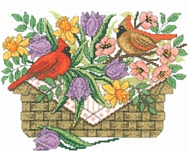 Spring Cardinals cross stitch chart Imaginating - $5.40