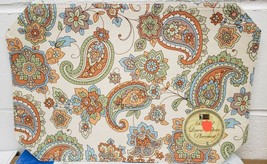 "SET OF 4 LINEN FABRIC PLACEMATS 12"" x 18"", FLOWERS, PAISLEY by BH - $15.83"