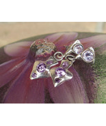 Fine silver heart earrings, 999 silver earrings, purple earrings, pmc je... - £16.27 GBP