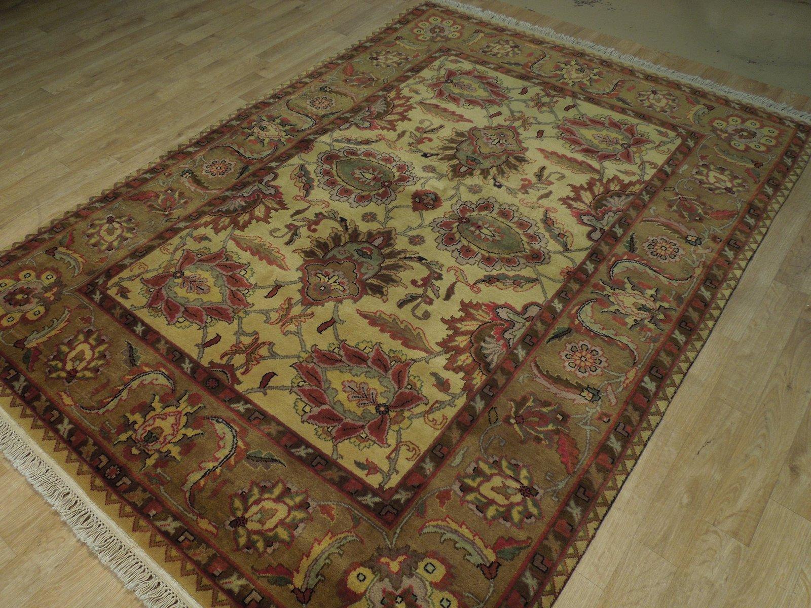Cream Wool 5' x 7' Large Shah Abassi Design New Jaipur Authentic Handmade Rug