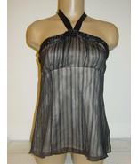 White House Black Market black tube top sheer striped overlay 67% silk s... - $12.16