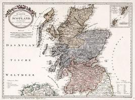 1795 Map of Scotland Franz Johann Joseph von Reilly Art Poster Scottish ... - $13.37